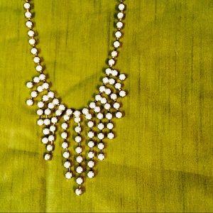 Formal Rhinestone Dangle Bib Costume Necklace
